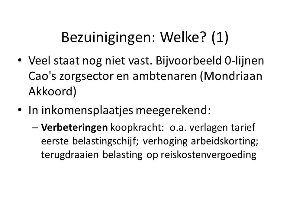 Bezuinigingen: Welke? (1) • Veel staat nog niet vast. Bijvoorbeeld 0-lijnen Cao's zorgsector en ambtenaren (Mondriaan Akkoord) • In inkomensplaatjes m