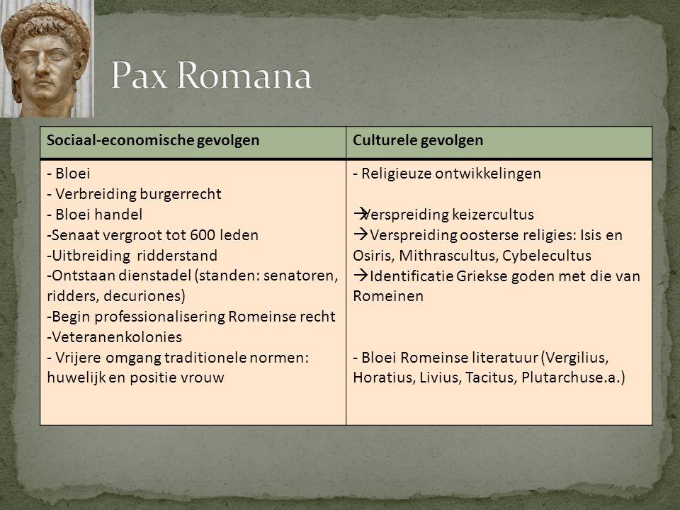 Sociaal-economische gevolgenCulturele gevolgen - Bloei - Verbreiding burgerrecht - Bloei handel -Senaat vergroot tot 600 leden -Uitbreiding ridderstan