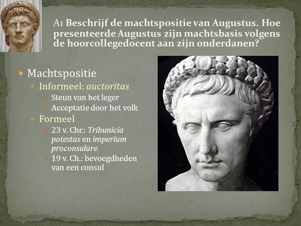 27 vC - Octavianus geeft bevoegdheden consul terug aan senaat - Krijgt imperium proconsulare, titel 'Augustus' en wordt ingewijd als princeps 23 vC - Tribunicia potestas: volkstribuun – onaantastbaar, belangenbehartiger volk - Imperium maius: macht over alle provincies (en leger) - Censor: o.a.
