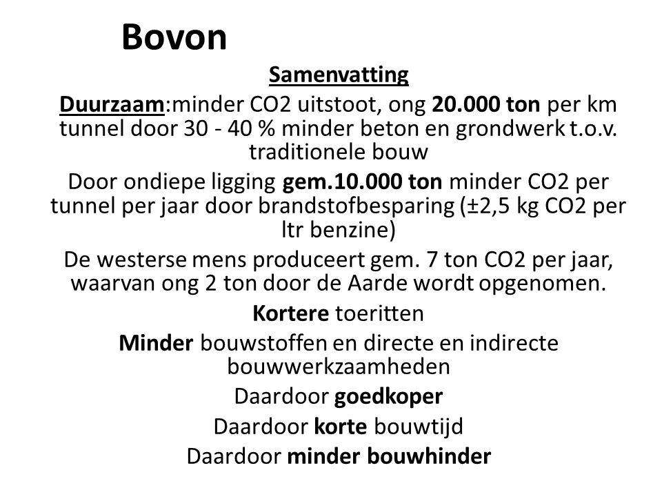 Bovon Samenvatting Duurzaam:minder CO2 uitstoot, ong 20.000 ton per km tunnel door 30 - 40 % minder beton en grondwerk t.o.v. traditionele bouw Door o