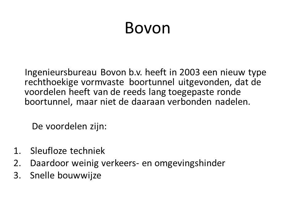 Ingenieursbureau Bovon b.v. heeft in 2003 een nieuw type rechthoekige vormvaste boortunnel uitgevonden, dat de voordelen heeft van de reeds lang toege