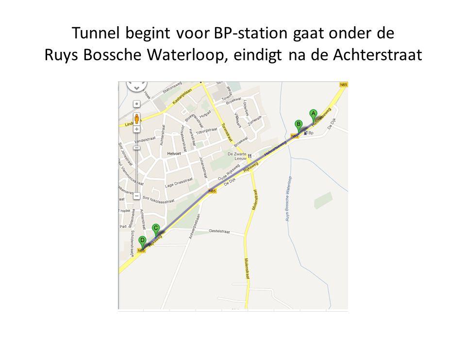 Tunnel begint voor BP-station gaat onder de Ruys Bossche Waterloop, eindigt na de Achterstraat