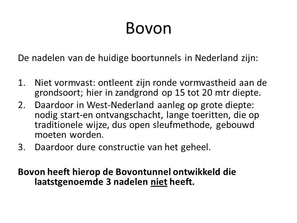 De nadelen van de huidige boortunnels in Nederland zijn: 1.Niet vormvast: ontleent zijn ronde vormvastheid aan de grondsoort; hier in zandgrond op 15