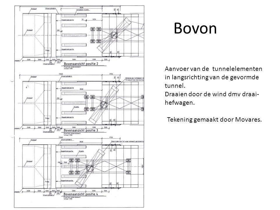 Bovon Aanvoer van de tunnelelementen in langsrichting van de gevormde tunnel. Draaien door de wind dmv draai- hefwagen. Tekening gemaakt door Movares.
