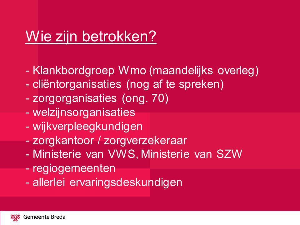 Wie zijn betrokken? - Klankbordgroep Wmo (maandelijks overleg) - cliëntorganisaties (nog af te spreken) - zorgorganisaties (ong. 70) - welzijnsorganis