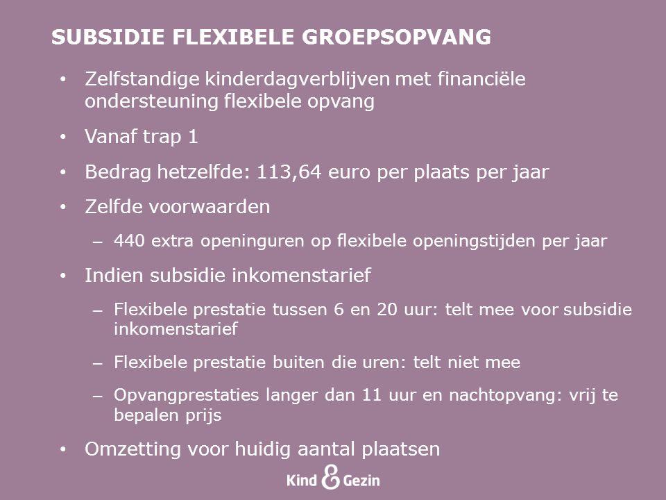 • Zelfstandige kinderdagverblijven met financiële ondersteuning flexibele opvang • Vanaf trap 1 • Bedrag hetzelfde: 113,64 euro per plaats per jaar •