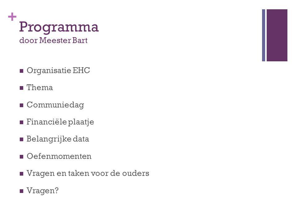 + Programma door Meester Bart  Organisatie EHC  Thema  Communiedag  Financiële plaatje  Belangrijke data  Oefenmomenten  Vragen en taken voor d