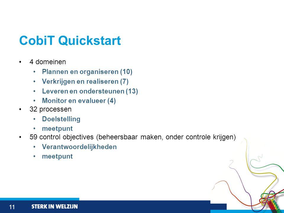 11 CobiT Quickstart •4 domeinen •Plannen en organiseren (10) •Verkrijgen en realiseren (7) •Leveren en ondersteunen (13) •Monitor en evalueer (4) •32 processen •Doelstelling •meetpunt •59 control objectives (beheersbaar maken, onder controle krijgen) •Verantwoordelijkheden •meetpunt
