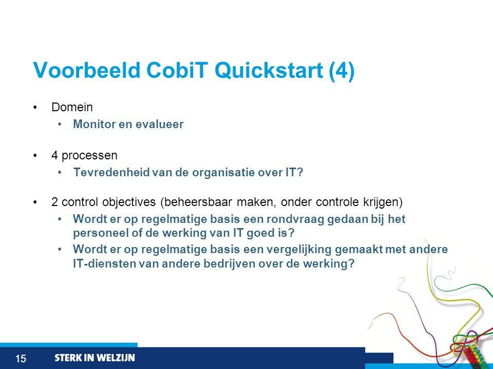 15 Voorbeeld CobiT Quickstart (4) •Domein •Monitor en evalueer •4 processen •Tevredenheid van de organisatie over IT.