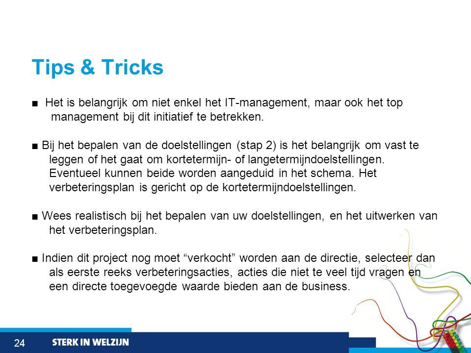 24 Tips & Tricks ■ Het is belangrijk om niet enkel het IT-management, maar ook het top management bij dit initiatief te betrekken.