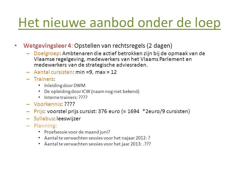 Het nieuwe aanbod onder de loep • Wetgevingsleer 4: Opstellen van rechtsregels (2 dagen) – Doelgroep: Ambtenaren die actief betrokken zijn bij de opmaak van de Vlaamse regelgeving, medewerkers van het Vlaams Parlement en medewerkers van de strategische adviesraden.