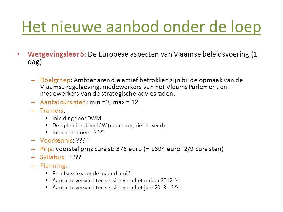 Het nieuwe aanbod onder de loep • Wetgevingsleer 5: De Europese aspecten van Vlaamse beleidsvoering (1 dag) – Doelgroep: Ambtenaren die actief betrokk