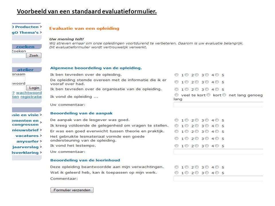 Voorbeeld van een standaard evaluatieformulier.