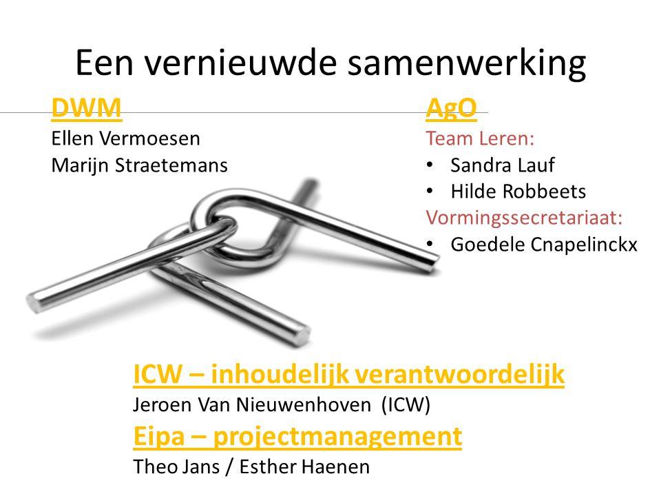 Een vernieuwde samenwerking DWM Ellen Vermoesen Marijn Straetemans AgO Team Leren: • Sandra Lauf • Hilde Robbeets Vormingssecretariaat: • Goedele Cnap