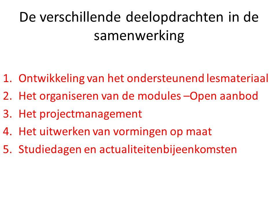 De verschillende deelopdrachten in de samenwerking 1.Ontwikkeling van het ondersteunend lesmateriaal 2.Het organiseren van de modules –Open aanbod 3.H