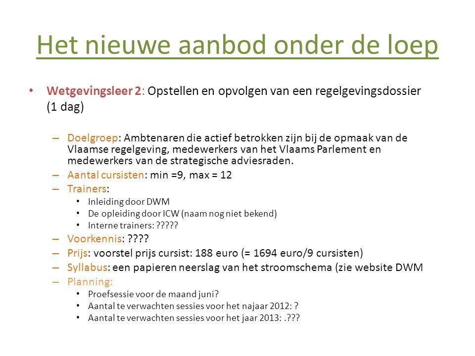 Het nieuwe aanbod onder de loep • Wetgevingsleer 3: Ria als proces (1 dag) – Doelgroep: Ambtenaren die actief betrokken zijn bij de opmaak van de Vlaamse regelgeving, medewerkers van het Vlaams Parlement en medewerkers van de strategische adviesraden.