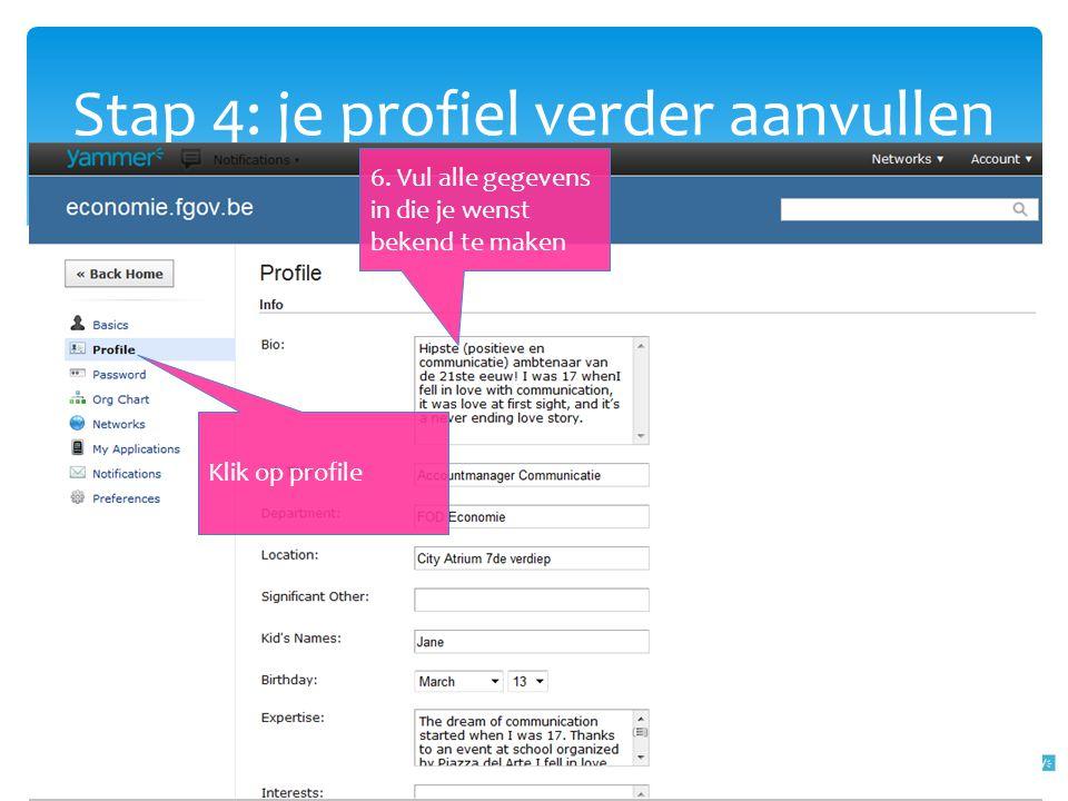 Stap 4: je profiel verder aanvullen 6. Vul alle gegevens in die je wenst bekend te maken Klik op profile