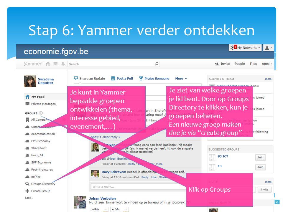 Stap 6: Yammer verder ontdekken Je kunt in Yammer bepaalde groepen ontwikkelen (thema, interesse gebied, evenement,…) Je ziet van welke groepen je lid