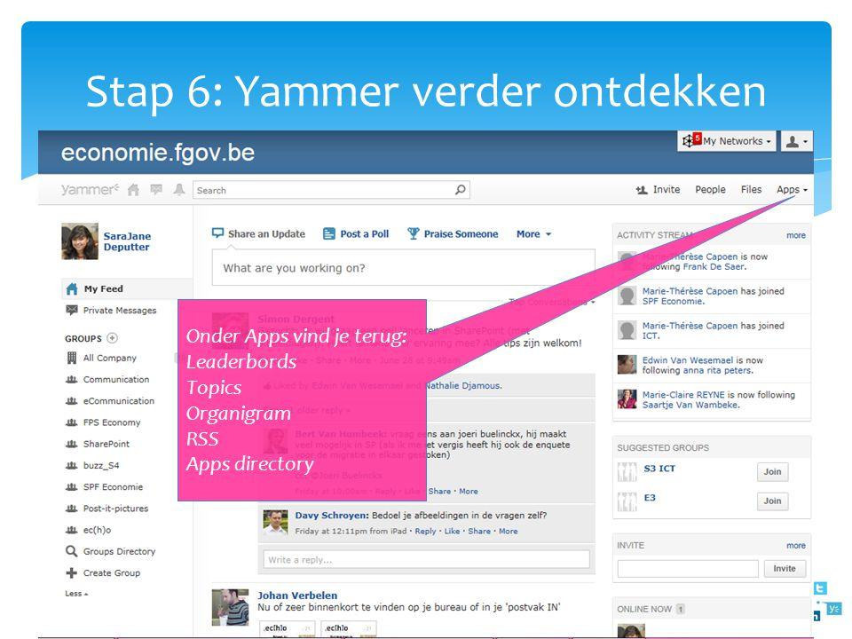 Stap 6: Yammer verder ontdekken Onder Apps vind je terug: Leaderbords Topics Organigram RSS Apps directory