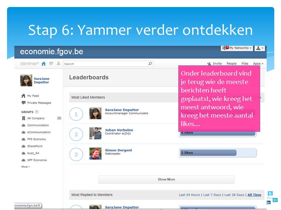Stap 6: Yammer verder ontdekken Onder Apps vind je terug: Leaderbords Topics Organigram RSS Apps directory Onder leaderboard vind je terug wie de mees