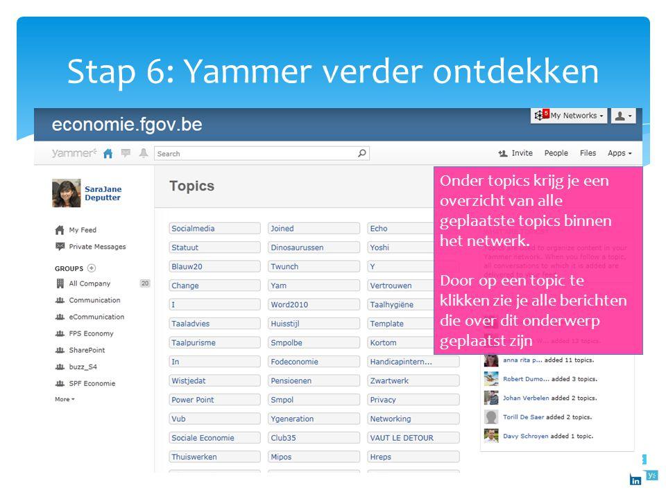 Stap 6: Yammer verder ontdekken Onder leaderboard vind je terug wie de meeste berichten heeft geplaatst, wie kreeg het meest antwoord, wie kreeg het m