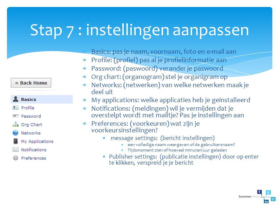Stap 7 : instellingen aanpassen  Basics: pas je naam, voornaam, foto en e-mail aan  Profile: (profiel) pas al je profielinformatie aan  Password: (