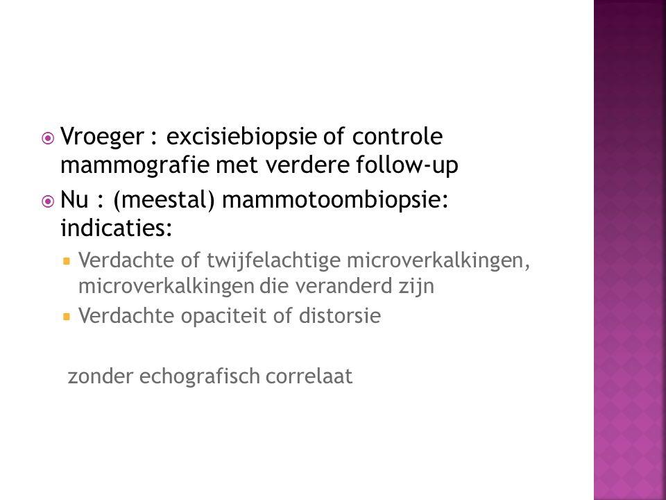  Vroeger : excisiebiopsie of controle mammografie met verdere follow-up  Nu : (meestal) mammotoombiopsie: indicaties:  Verdachte of twijfelachtige
