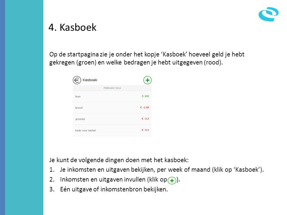 4. Kasboek Op de startpagina zie je onder het kopje 'Kasboek' hoeveel geld je hebt gekregen (groen) en welke bedragen je hebt uitgegeven (rood). Je ku