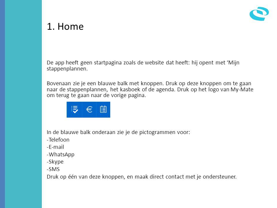 1. Home De app heeft geen startpagina zoals de website dat heeft: hij opent met 'Mijn stappenplannen. Bovenaan zie je een blauwe balk met knoppen. Dru