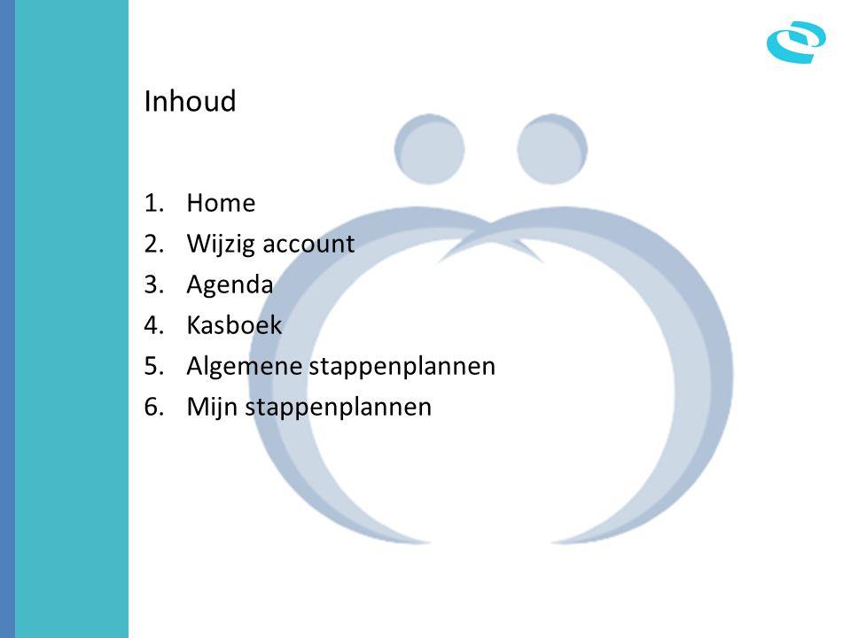 Inhoud 1.Home 2.Wijzig account 3.Agenda 4.Kasboek 5.Algemene stappenplannen 6.Mijn stappenplannen