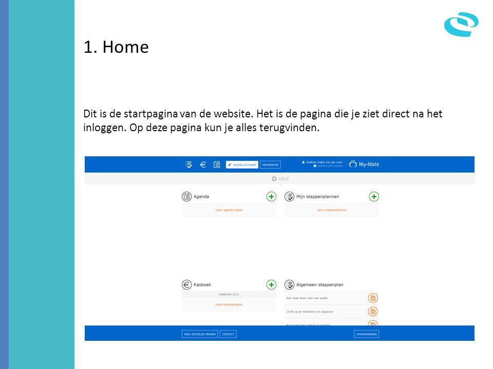1. Home Dit is de startpagina van de website. Het is de pagina die je ziet direct na het inloggen. Op deze pagina kun je alles terugvinden.
