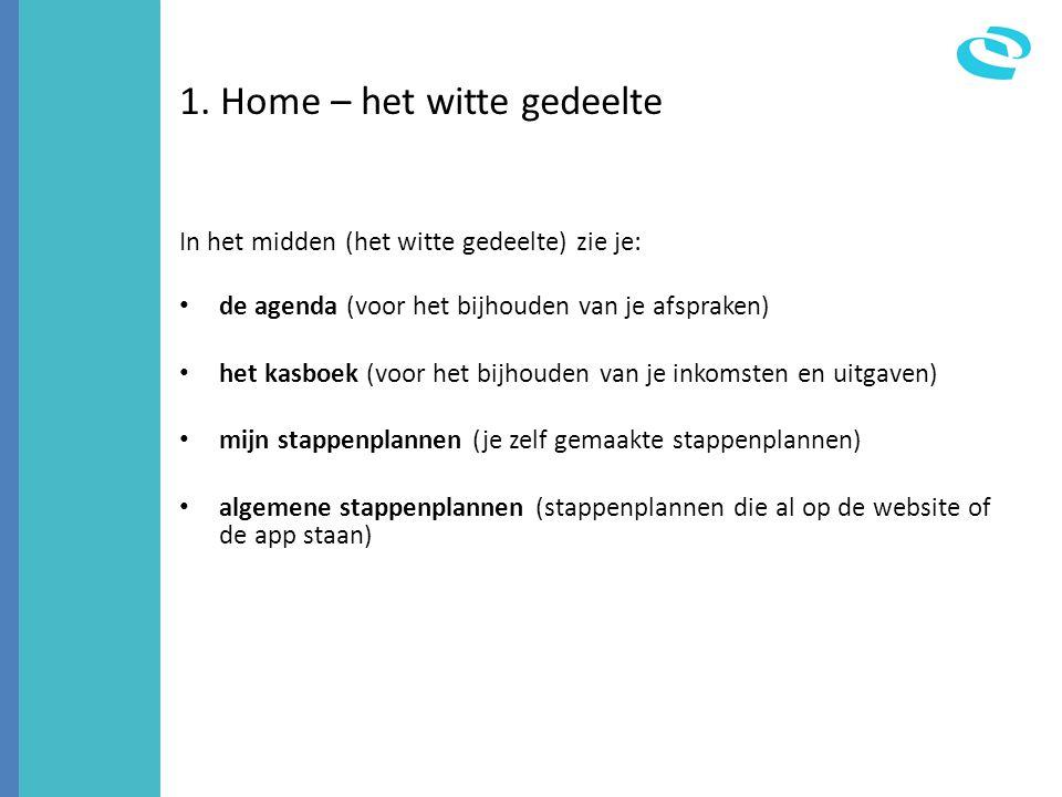 1. Home – het witte gedeelte In het midden (het witte gedeelte) zie je: • de agenda (voor het bijhouden van je afspraken) • het kasboek (voor het bijh