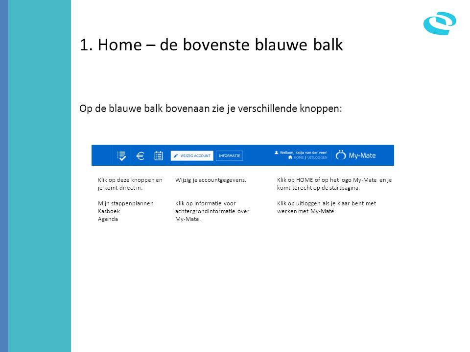 1. Home – de bovenste blauwe balk Op de blauwe balk bovenaan zie je verschillende knoppen: Klik op deze knoppen en je komt direct in: Mijn stappenplan