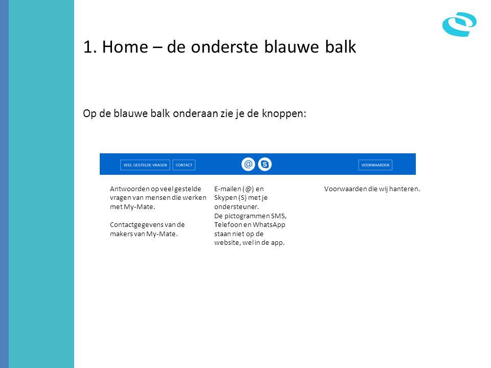 1. Home – de onderste blauwe balk Op de blauwe balk onderaan zie je de knoppen: Antwoorden op veel gestelde vragen van mensen die werken met My-Mate.