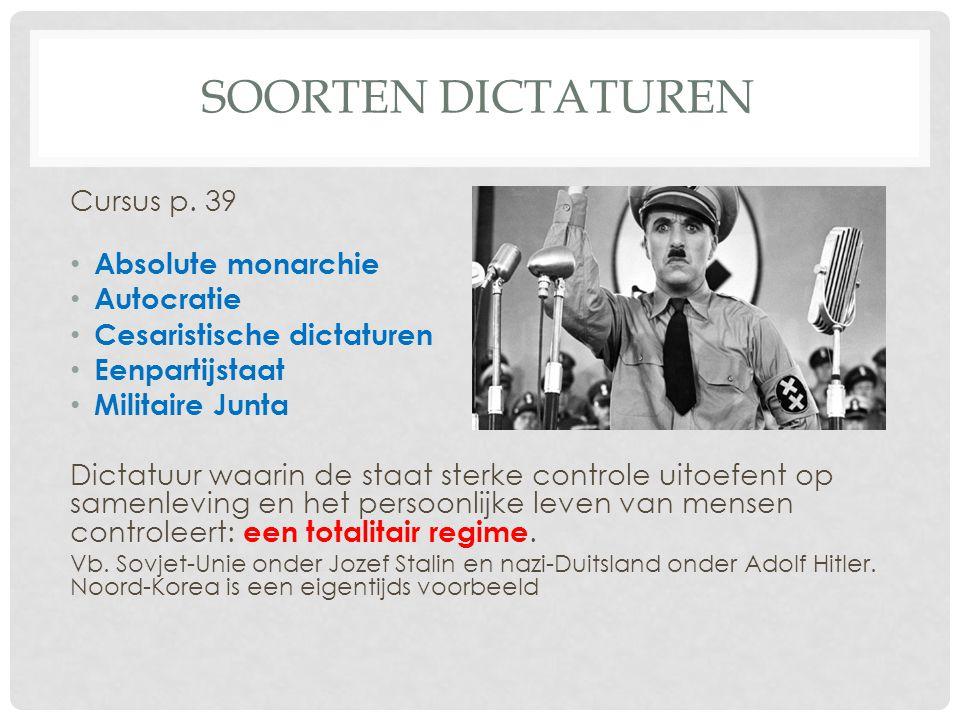 SOORTEN DICTATUREN Cursus p. 39 • Absolute monarchie • Autocratie • Cesaristische dictaturen • Eenpartijstaat • Militaire Junta Dictatuur waarin de st