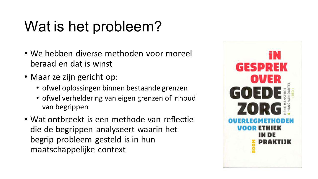 Wat is het probleem? • We hebben diverse methoden voor moreel beraad en dat is winst • Maar ze zijn gericht op: • ofwel oplossingen binnen bestaande g