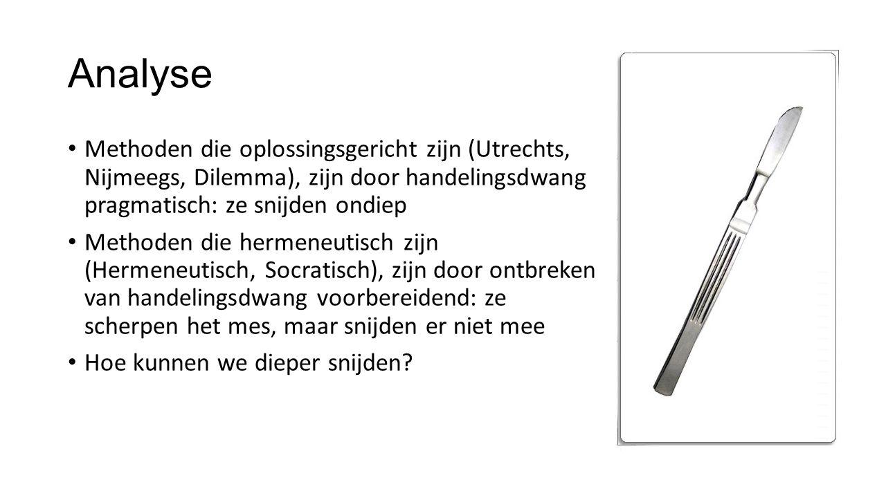Analyse • Methoden die oplossingsgericht zijn (Utrechts, Nijmeegs, Dilemma), zijn door handelingsdwang pragmatisch: ze snijden ondiep • Methoden die h