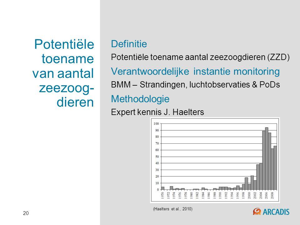 20 Potentiële toename van aantal zeezoog- dieren Definitie Potentiële toename aantal zeezoogdieren (ZZD) Verantwoordelijke instantie monitoring BMM –