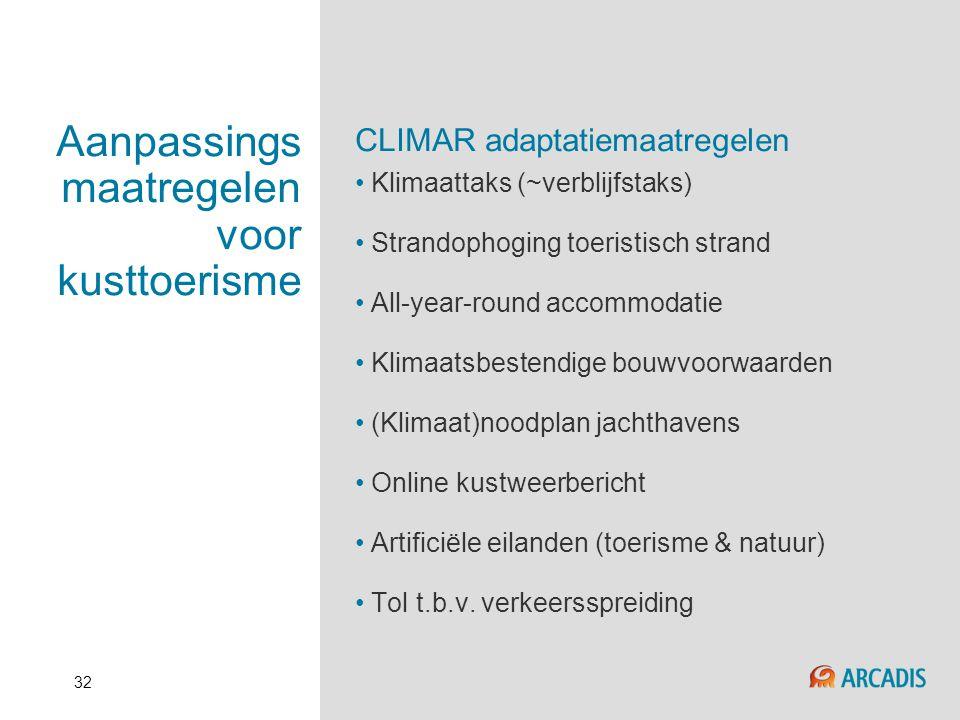 32 Aanpassings maatregelen voor kusttoerisme CLIMAR adaptatiemaatregelen • Klimaattaks (~verblijfstaks) • Strandophoging toeristisch strand • All-year