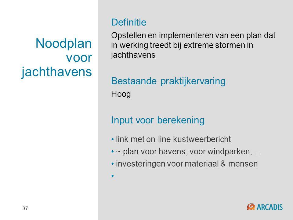 37 Noodplan voor jachthavens Definitie Opstellen en implementeren van een plan dat in werking treedt bij extreme stormen in jachthavens Bestaande prak