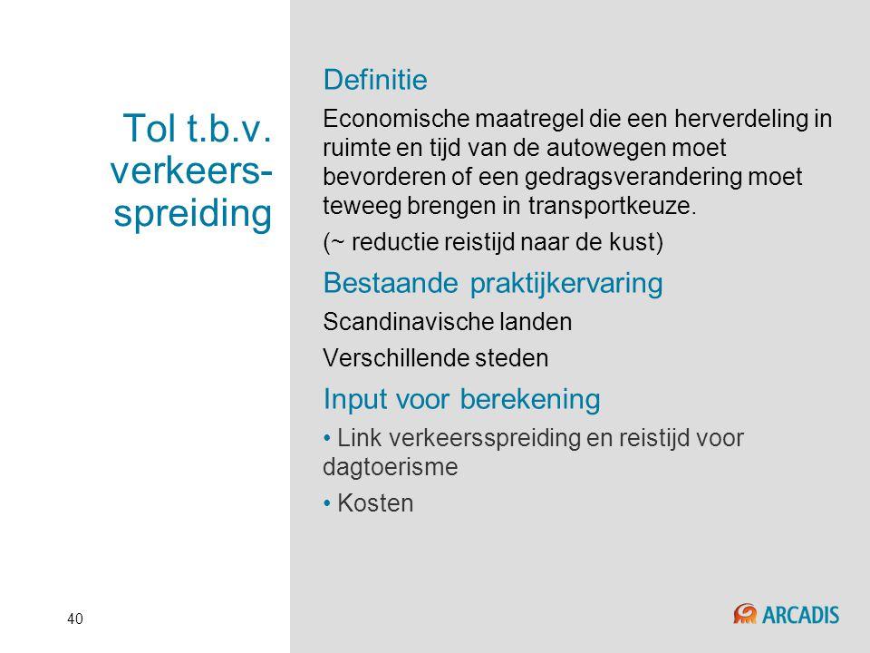40 Tol t.b.v. verkeers- spreiding Definitie Economische maatregel die een herverdeling in ruimte en tijd van de autowegen moet bevorderen of een gedra