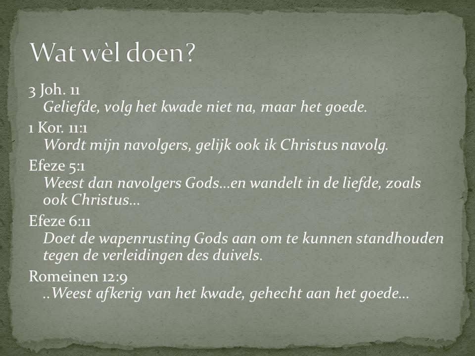 3 Joh. 11 Geliefde, volg het kwade niet na, maar het goede. 1 Kor. 11:1 Wordt mijn navolgers, gelijk ook ik Christus navolg. Efeze 5:1 Weest dan navol