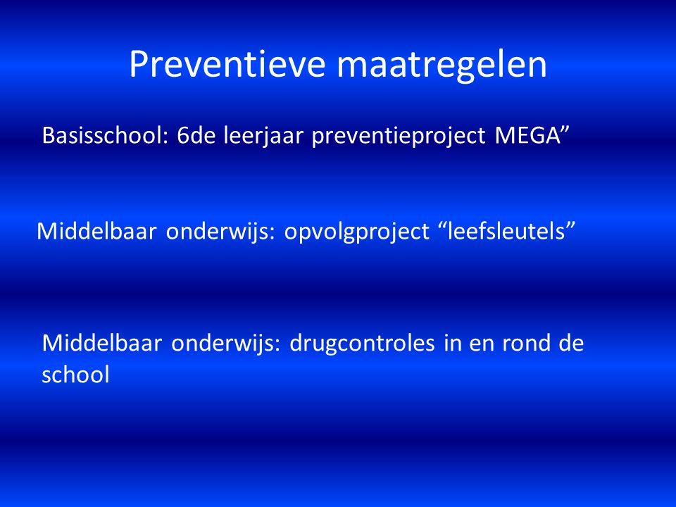 """Preventieve maatregelen Basisschool: 6de leerjaar preventieproject MEGA"""" Middelbaar onderwijs: opvolgproject """"leefsleutels"""" Middelbaar onderwijs: drug"""