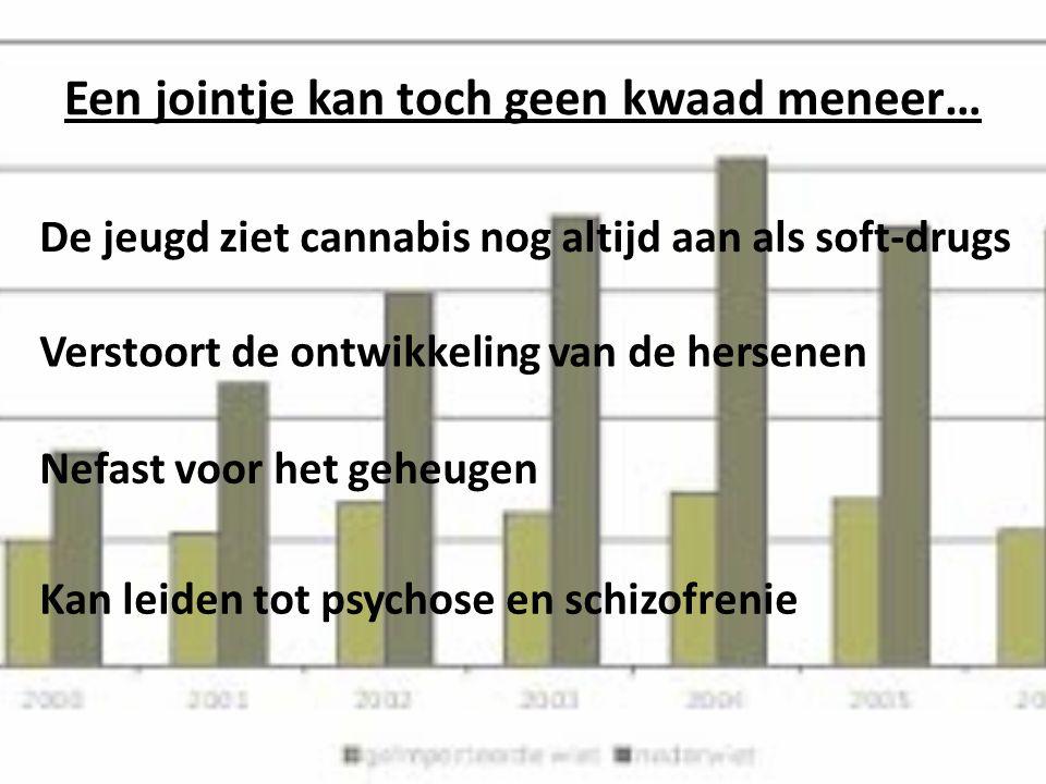 Een jointje kan toch geen kwaad meneer… De jeugd ziet cannabis nog altijd aan als soft-drugs Verstoort de ontwikkeling van de hersenen Nefast voor het