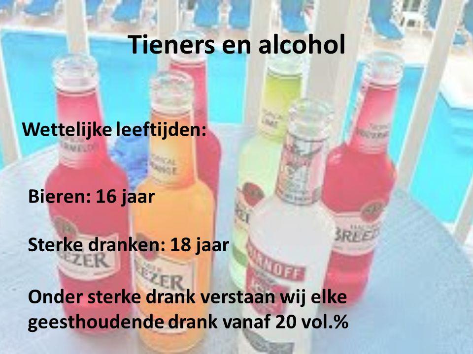 Tieners en alcohol Wettelijke leeftijden: Bieren: 16 jaar Sterke dranken: 18 jaar Onder sterke drank verstaan wij elke geesthoudende drank vanaf 20 vo