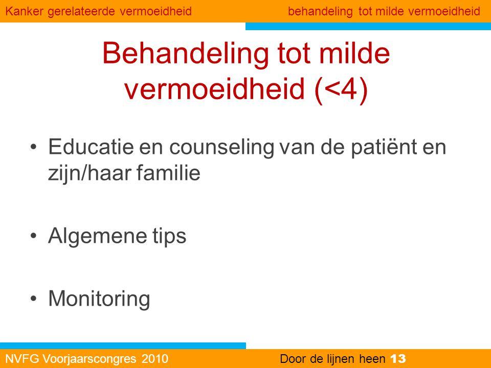 Behandeling tot milde vermoeidheid (<4) •Educatie en counseling van de patiënt en zijn/haar familie •Algemene tips •Monitoring NVFG Voorjaarscongres 2