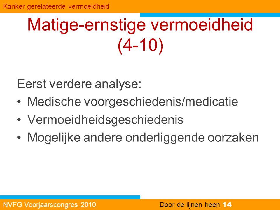 Matige-ernstige vermoeidheid (4-10) Eerst verdere analyse: •Medische voorgeschiedenis/medicatie •Vermoeidheidsgeschiedenis •Mogelijke andere onderligg
