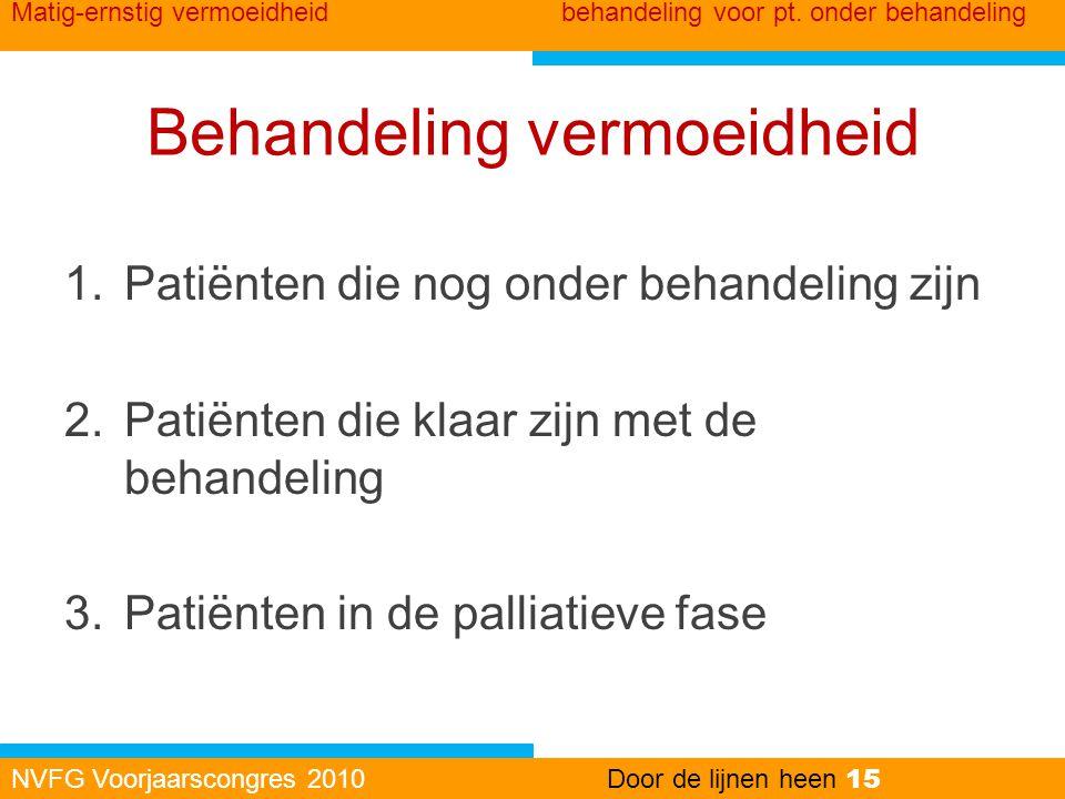 Behandeling vermoeidheid 1.Patiënten die nog onder behandeling zijn 2.Patiënten die klaar zijn met de behandeling 3.Patiënten in de palliatieve fase N