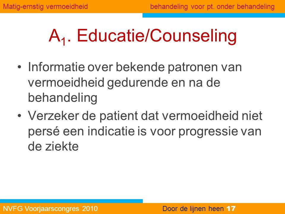 A 1. Educatie/Counseling •Informatie over bekende patronen van vermoeidheid gedurende en na de behandeling •Verzeker de patient dat vermoeidheid niet