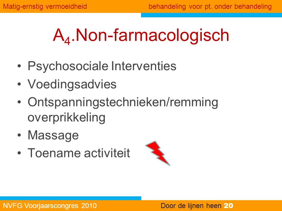 A 4.Non-farmacologisch •Psychosociale Interventies •Voedingsadvies •Ontspanningstechnieken/remming overprikkeling •Massage •Toename activiteit NVFG Vo